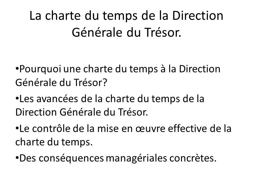 La charte du temps de la Direction Générale du Trésor. Pourquoi une charte du temps à la Direction Générale du Trésor? Les avancées de la charte du te