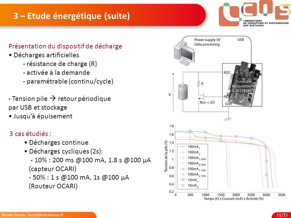 Nicolas Fourty - fourty@iut-valence.fr 11/15 3 – Etude énergétique (suite) Présentation du dispositif de décharge Décharges artificielles - résistance