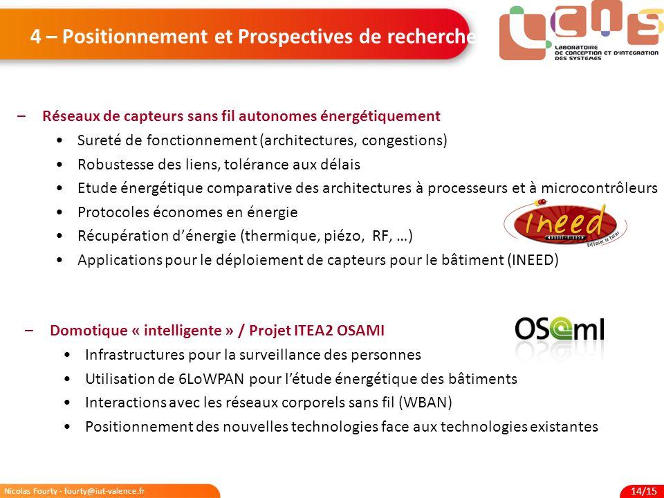 Nicolas Fourty - fourty@iut-valence.fr 14/15 4 – Positionnement et Prospectives de recherche –Réseaux de capteurs sans fil autonomes énergétiquement S
