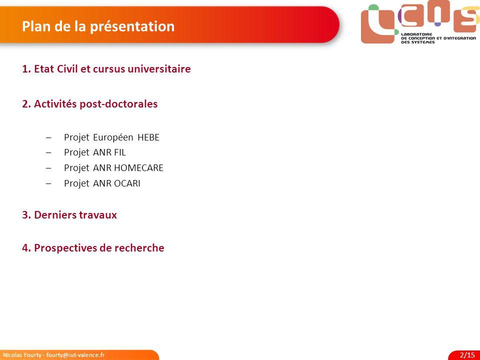 Nicolas Fourty - fourty@iut-valence.fr 2/15 Plan de la présentation 1. Etat Civil et cursus universitaire 2. Activités post-doctorales –Projet Europée