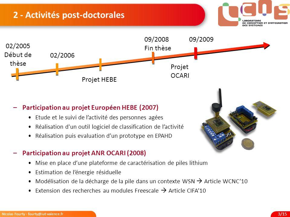 Nicolas Fourty - fourty@iut-valence.fr 3/15 2 - Activités post-doctorales –Participation au projet Européen HEBE (2007) Etude et le suivi de l'activit