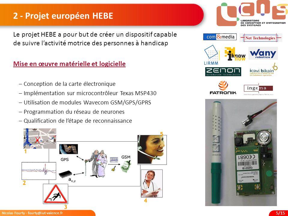 Nicolas Fourty - fourty@iut-valence.fr 5/15 2 - Projet européen HEBE Le projet HEBE a pour but de créer un dispositif capable de suivre l'activité mot