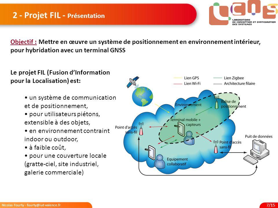 Nicolas Fourty - fourty@iut-valence.fr 7/15 2 - Projet FIL - Présentation Objectif : Mettre en œuvre un système de positionnement en environnement int
