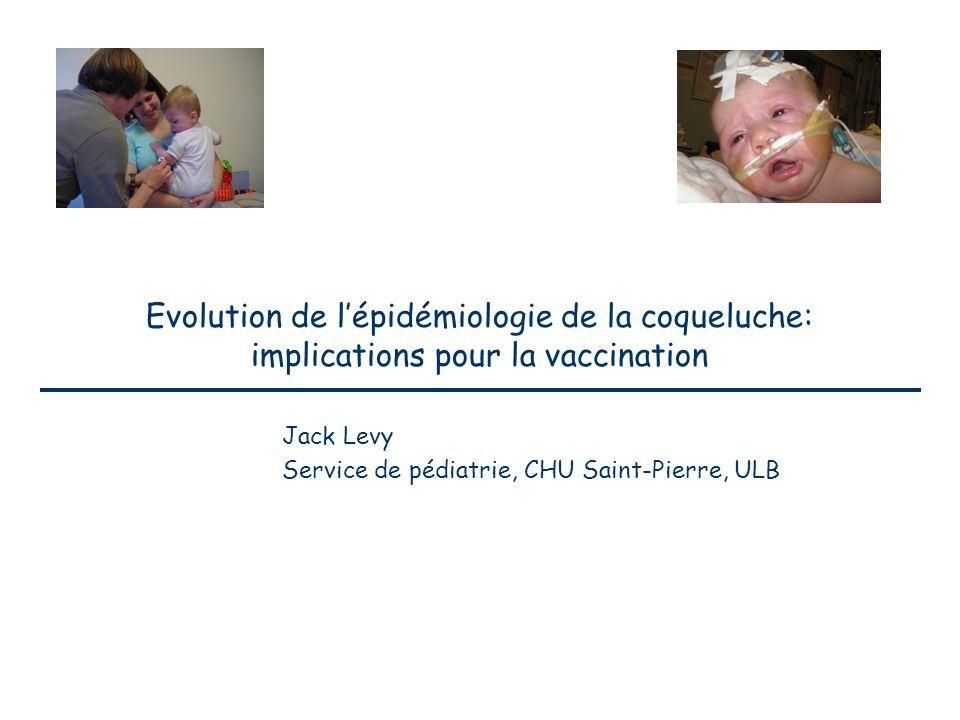Evolution de l'épidémiologie de la coqueluche: implications pour la vaccination Jack Levy Service de pédiatrie, CHU Saint-Pierre, ULB
