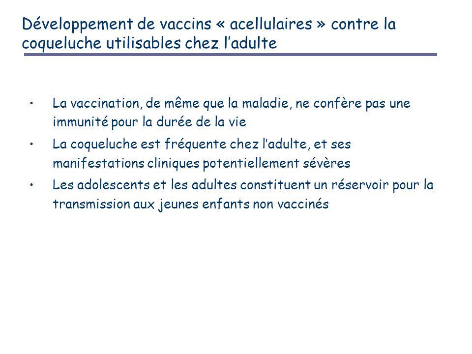 Développement de vaccins « acellulaires » contre la coqueluche utilisables chez l'adulte La vaccination, de même que la maladie, ne confère pas une immunité pour la durée de la vie La coqueluche est fréquente chez l'adulte, et ses manifestations cliniques potentiellement sévères Les adolescents et les adultes constituent un réservoir pour la transmission aux jeunes enfants non vaccinés