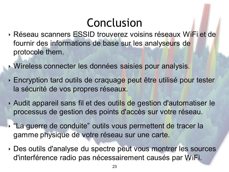 23 Conclusion ‣ Réseau scanners ESSID trouverez voisins réseaux WiFi et de fournir des informations de base sur les analyseurs de protocole them.