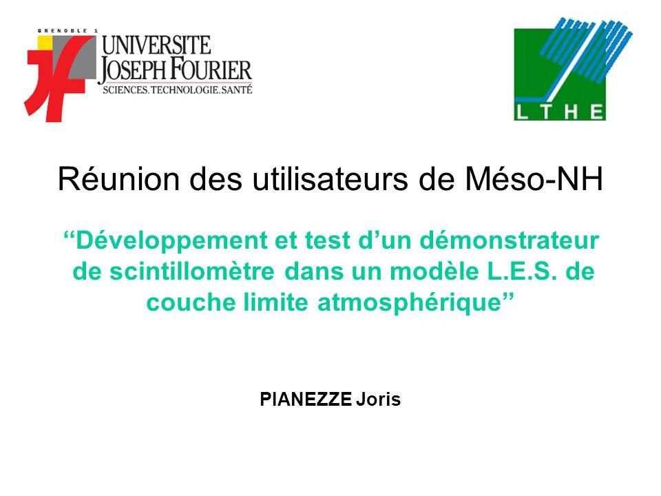 Réunion des utilisateurs de Méso-NH ''Développement et test d'un démonstrateur de scintillomètre dans un modèle L.E.S. de couche limite atmosphérique'