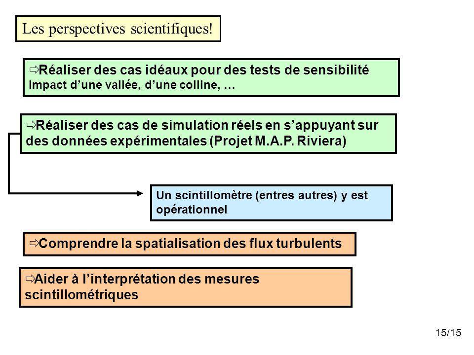 Comprendre la spatialisation des flux turbulents  Aider à l'interprétation des mesures scintillométriques Les perspectives scientifiques!  Réalise