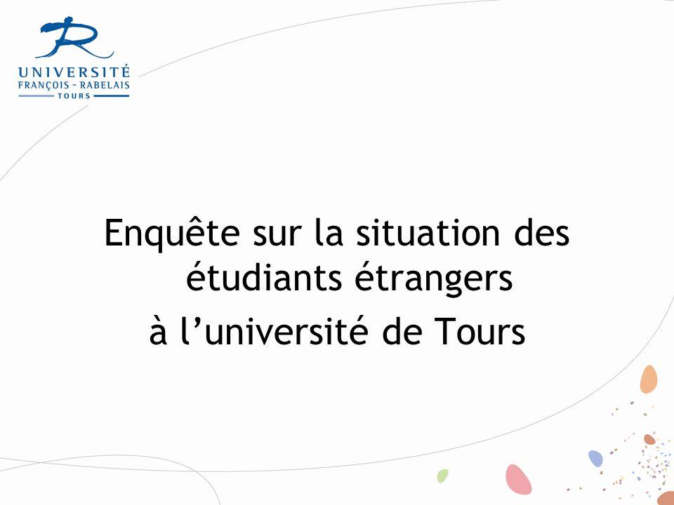 Enquête réalisée en 2011 à l'initiative du CUEFEE Buts poursuivis : -réaliser une enquête sur l'intégration des étudiants étrangers dans les différentes composantes de l'UFRT; -identifier les difficultés spécifiques de ce public ; -sensibiliser les acteurs de l'université.