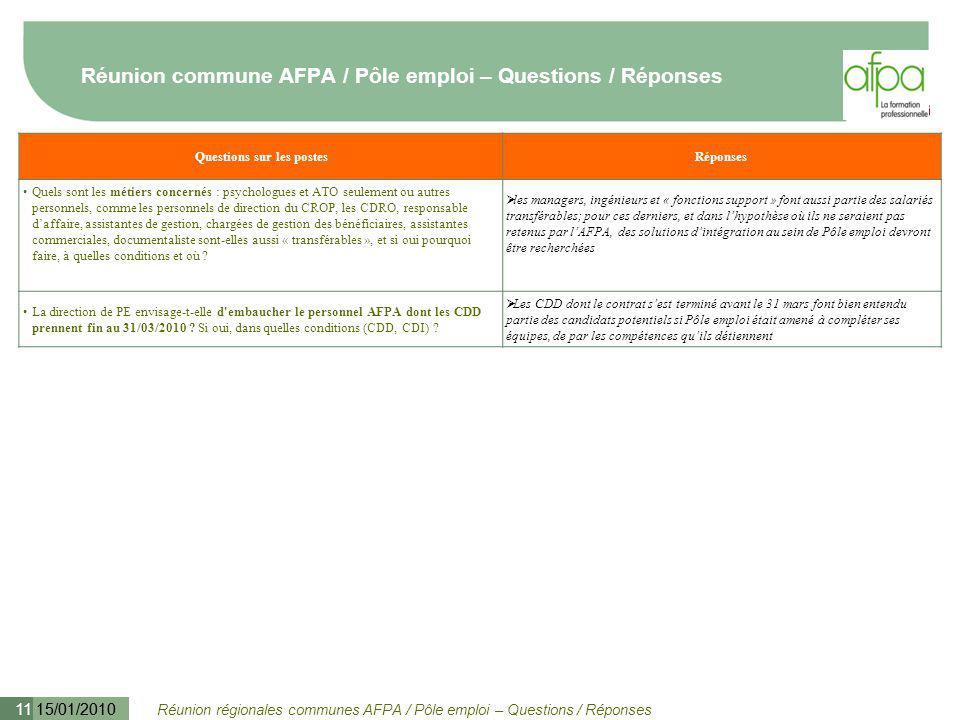 Réunion régionales communes AFPA / Pôle emploi – Questions / Réponses 15/01/2010 11 Réunion commune AFPA / Pôle emploi – Questions / Réponses Question