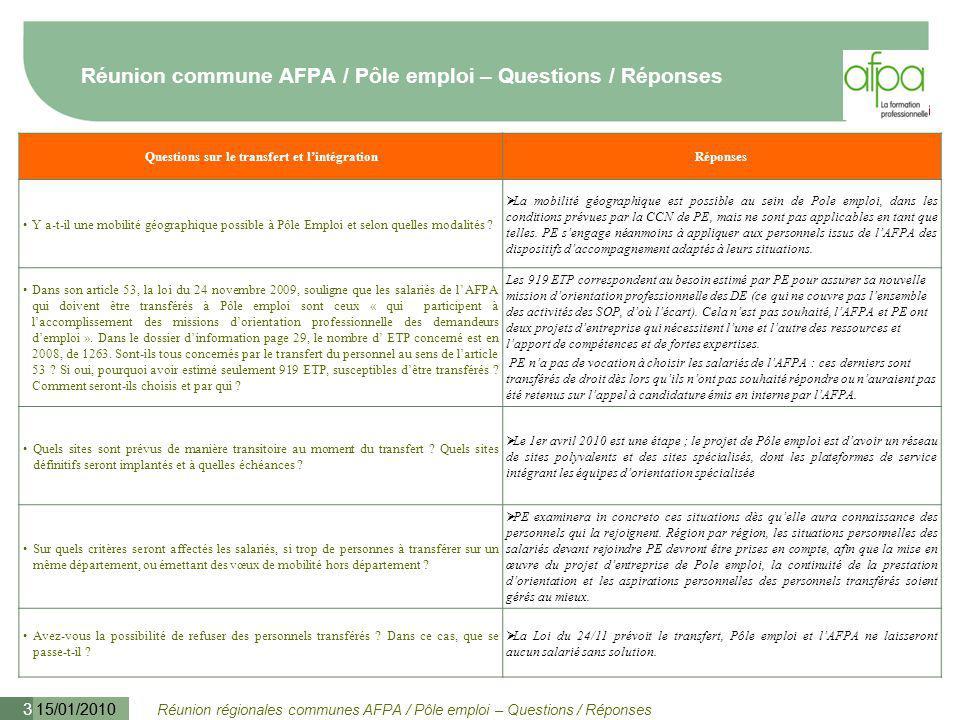Réunion régionales communes AFPA / Pôle emploi – Questions / Réponses 15/01/2010 4 Réunion commune AFPA / Pôle emploi – Questions / Réponses Questions sur le transfert et l'intégrationRéponses Est-il envisageable de changer de région .