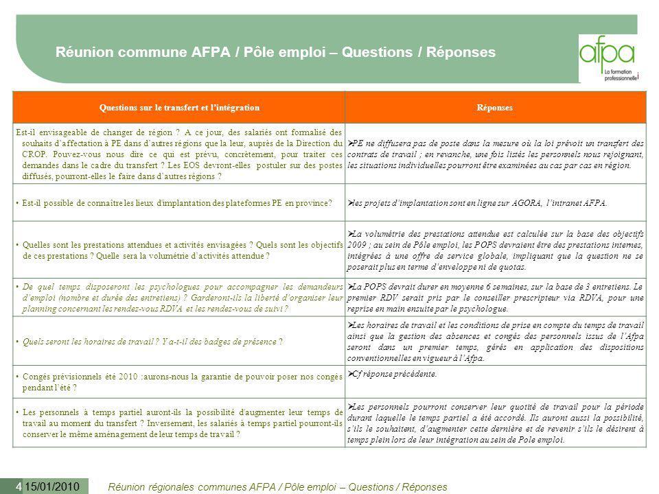Réunion régionales communes AFPA / Pôle emploi – Questions / Réponses 15/01/2010 5 Réunion commune AFPA / Pôle emploi – Questions / Réponses Questions sur le transfert et l'intégrationRéponses L accord d adaptation entraînera-t-il la signature d un nouveau contrat de travail .
