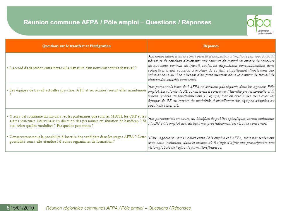 Réunion régionales communes AFPA / Pôle emploi – Questions / Réponses 15/01/2010 5 Réunion commune AFPA / Pôle emploi – Questions / Réponses Questions