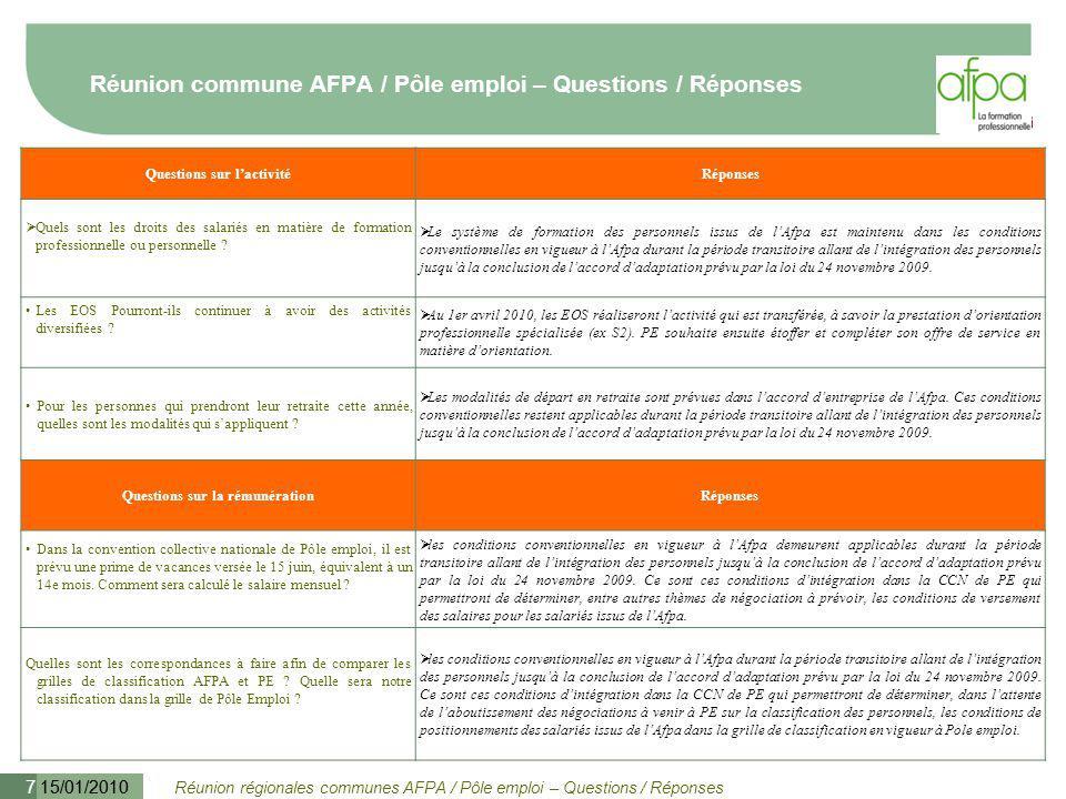Réunion régionales communes AFPA / Pôle emploi – Questions / Réponses 15/01/2010 8 Réunion commune AFPA / Pôle emploi – Questions / Réponses Questions sur la rémunérationRéponses Sur quels critères ou conditions se font les changements de coefficients dans la grille de PE .