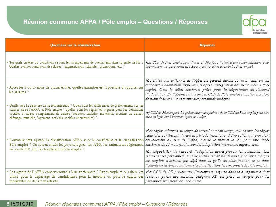 Réunion régionales communes AFPA / Pôle emploi – Questions / Réponses 15/01/2010 9 Réunion commune AFPA / Pôle emploi – Questions / Réponses Questions sur la représentation du personnel & négociationRéponses Qu'en est-il de la demande du personnel AFPA transféré d'avoir dans le cadre des négociations sur la CCN, le droit à une expression portée par une instance représentative propre .