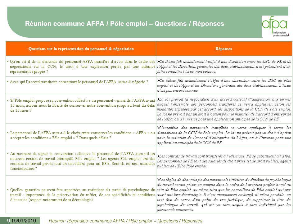 Réunion régionales communes AFPA / Pôle emploi – Questions / Réponses 15/01/2010 9 Réunion commune AFPA / Pôle emploi – Questions / Réponses Questions
