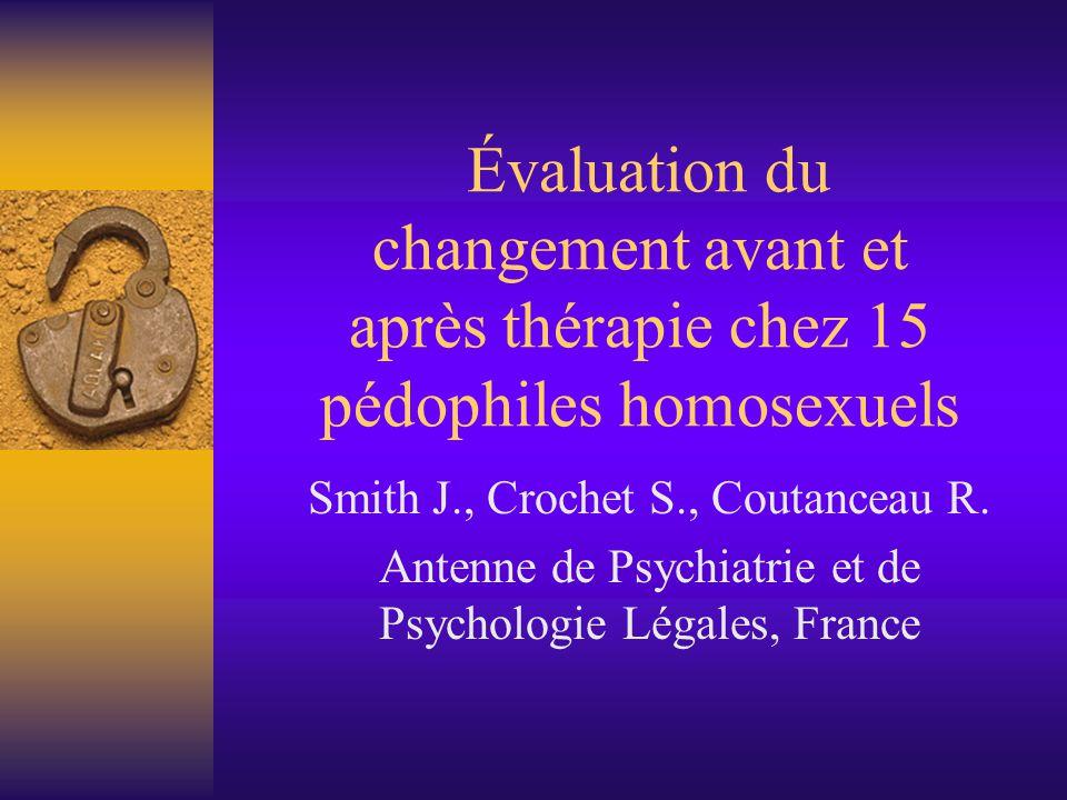 Caractéristiques de la population  15 patients pédophiles homosexuels  Âge moyen : 46 ans  Statut par rapport au jugement : 8 jugés avant, 2 pendant, 3 en attente, 2 jamais  Durée du suivi : 28 mois (+/- 11 mois)