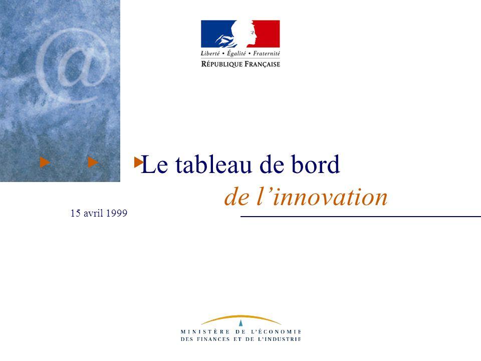 Tableau de bord de l innovation - 15 avril 1999 Le tableau de bord de l'innovation Prochain rendez-vous : septembre 1999