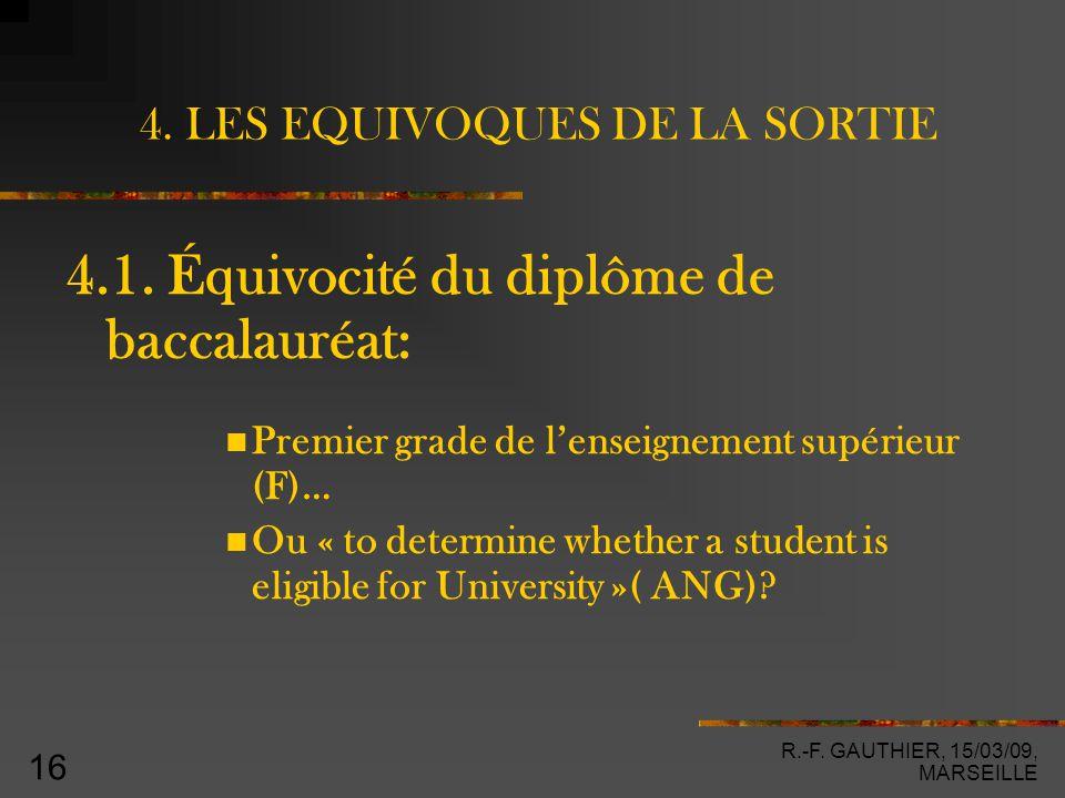 R.-F. GAUTHIER, 15/03/09, MARSEILLE 16 4. LES EQUIVOQUES DE LA SORTIE 4.1.