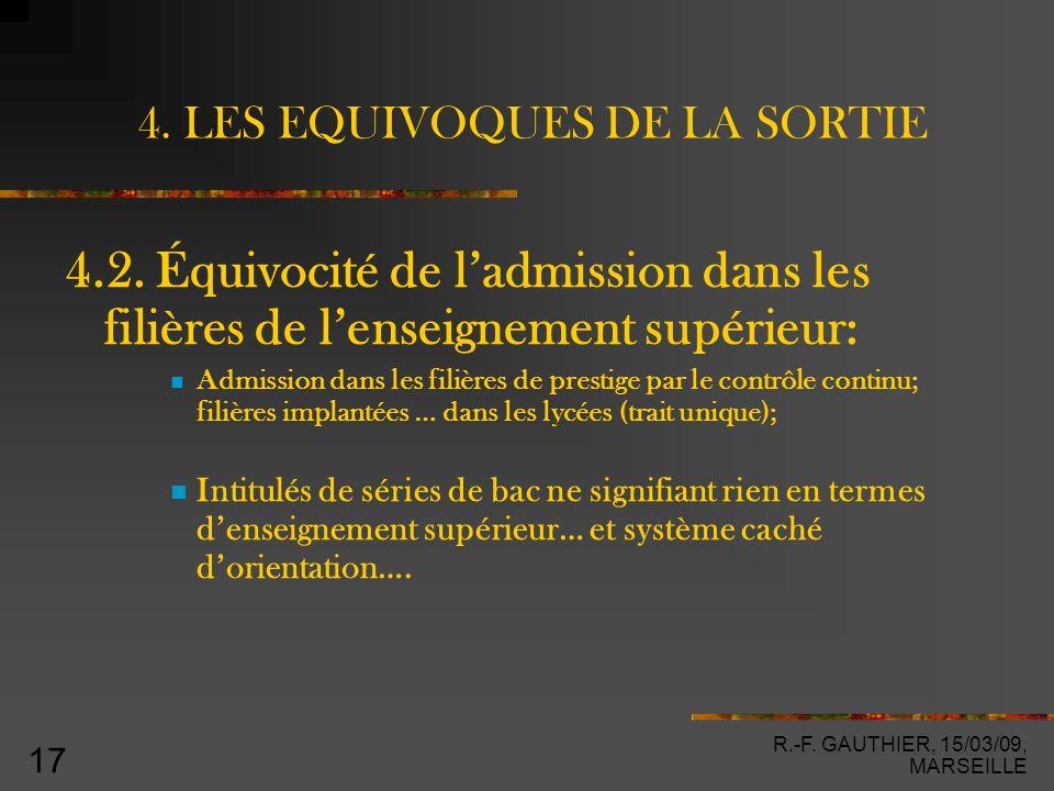 R.-F. GAUTHIER, 15/03/09, MARSEILLE 17 4. LES EQUIVOQUES DE LA SORTIE 4.2.