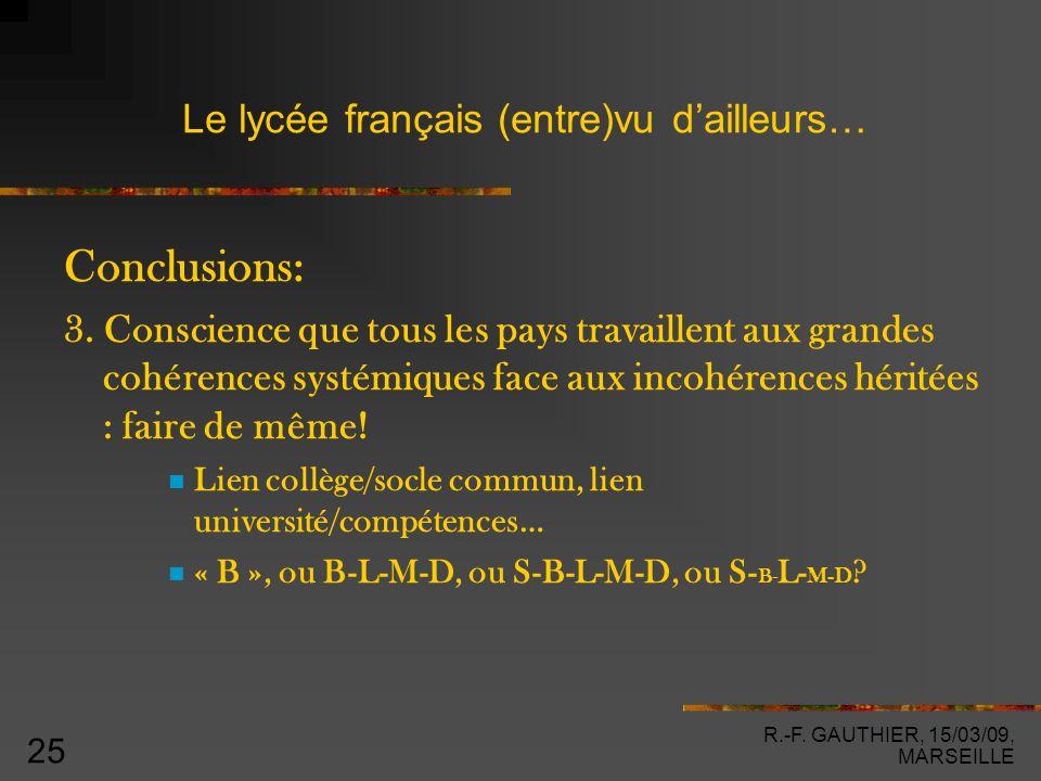 R.-F. GAUTHIER, 15/03/09, MARSEILLE 25 Le lycée français (entre)vu d'ailleurs… Conclusions: 3.