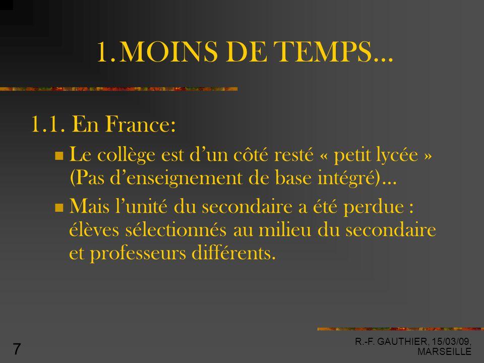 R.-F. GAUTHIER, 15/03/09, MARSEILLE 7 1. MOINS DE TEMPS… 1.1.