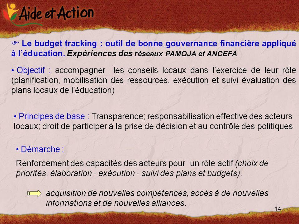 14  Le budget tracking : outil de bonne gouvernance financière appliqué à l'éducation.