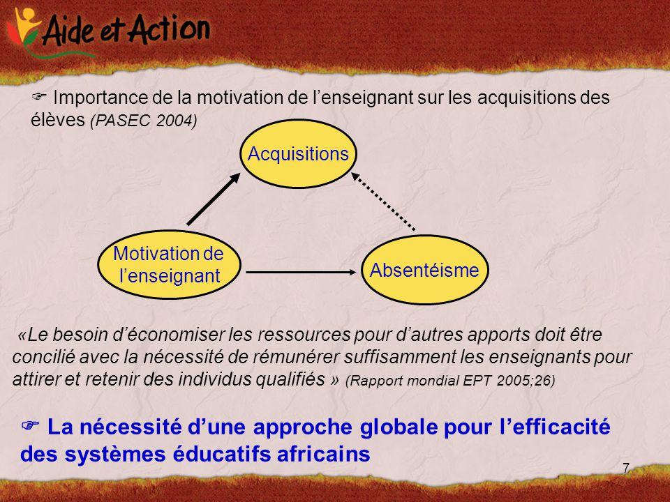 7  Importance de la motivation de l'enseignant sur les acquisitions des élèves (PASEC 2004) Motivation de l'enseignant Acquisitions Absentéisme «Le besoin d'économiser les ressources pour d'autres apports doit être concilié avec la nécessité de rémunérer suffisamment les enseignants pour attirer et retenir des individus qualifiés » (Rapport mondial EPT 2005;26)  La nécessité d'une approche globale pour l'efficacité des systèmes éducatifs africains