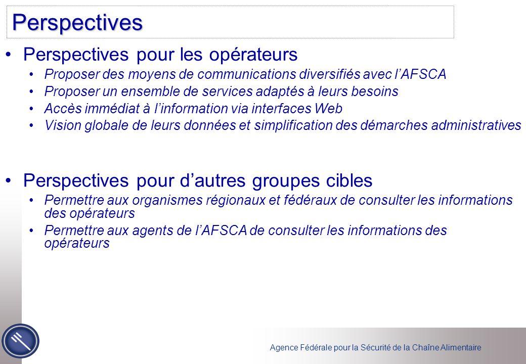 Agence Fédérale pour la Sécurité de la Chaîne Alimentaire Perspectives Perspectives pour les opérateurs Proposer des moyens de communications diversif
