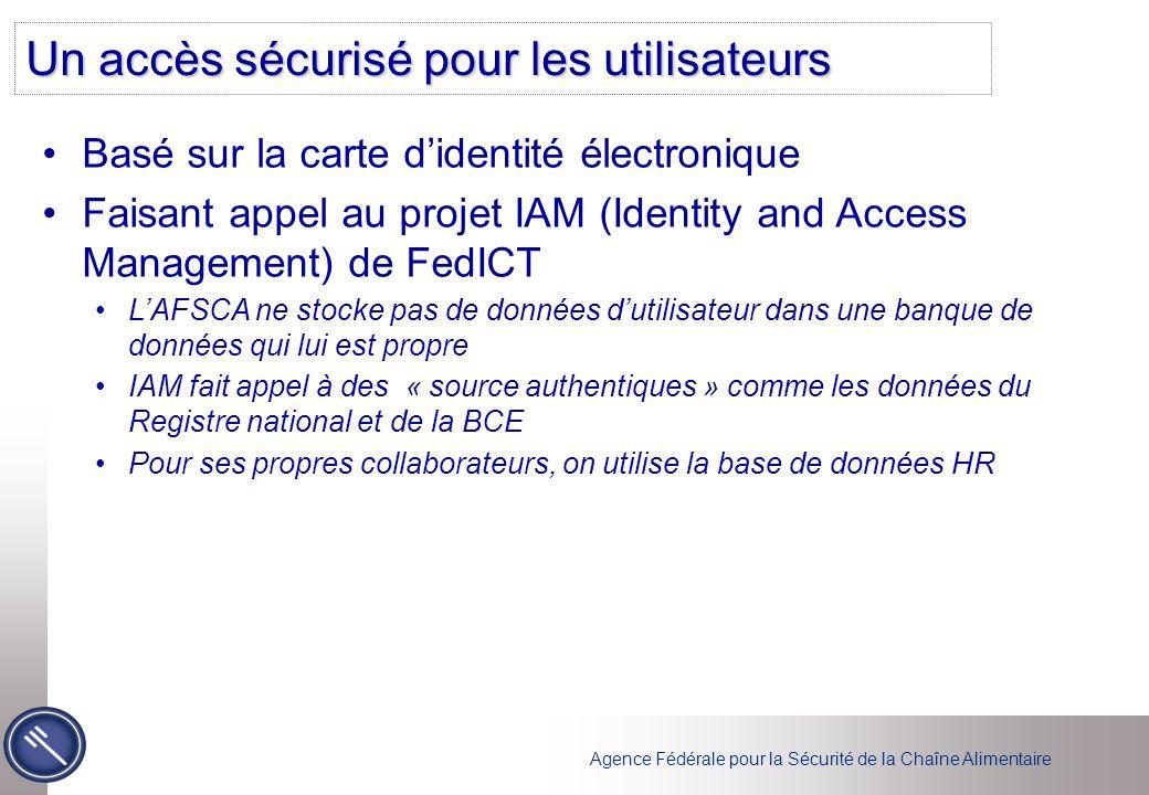 Agence Fédérale pour la Sécurité de la Chaîne Alimentaire Un accès sécurisé pour les utilisateurs Basé sur la carte d'identité électronique Faisant ap