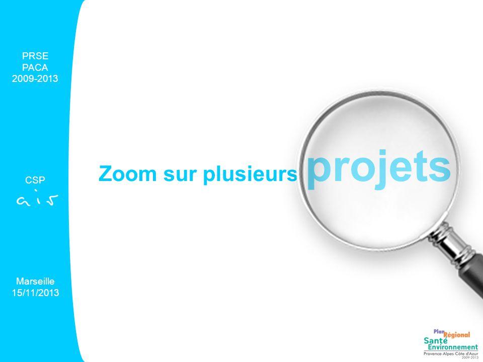 Zoom sur plusieurs projets PRSE PACA 2009-2013 CSP Marseille 15/11/2013