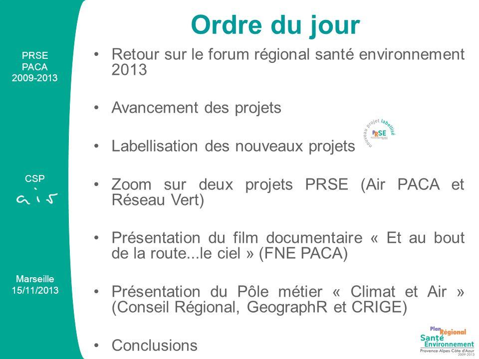 Retour sur le forum régional santé environnement 2013 Avancement des projets Labellisation des nouveaux projets Zoom sur deux projets PRSE (Air PACA et Réseau Vert) Présentation du film documentaire « Et au bout de la route...le ciel » (FNE PACA) Présentation du Pôle métier « Climat et Air » (Conseil Régional, GeographR et CRIGE) Conclusions PRSE PACA 2009-2013 CSP Marseille 15/11/2013 Ordre du jour