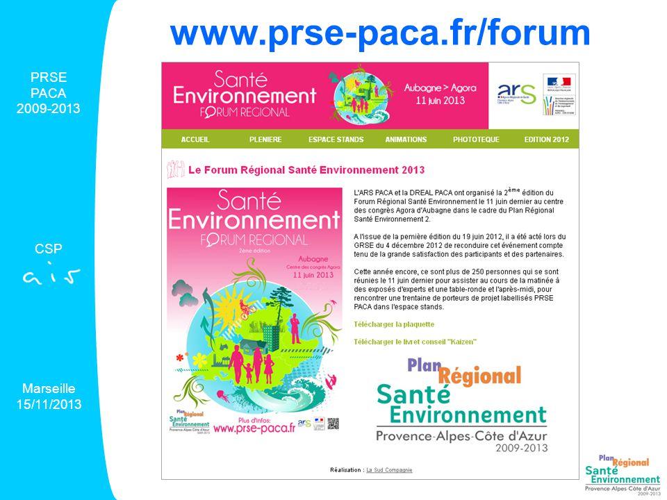 Avancement des projets PRSE PACA 2009-2013 CSP Marseille 15/11/2013