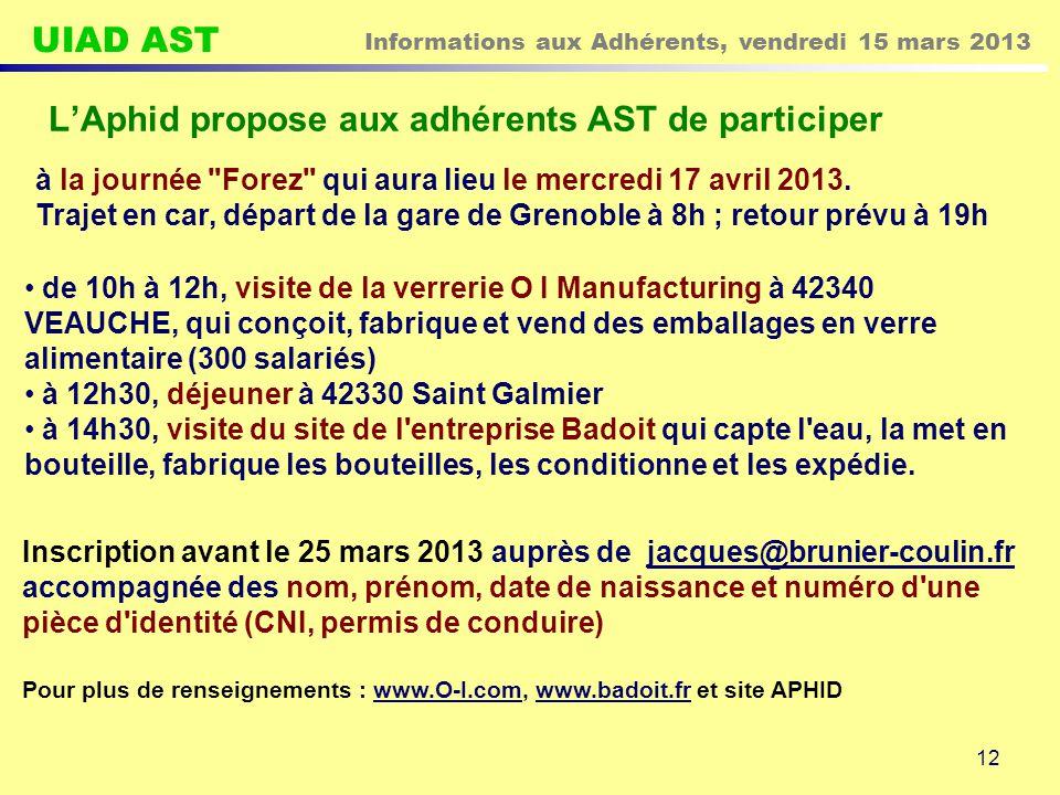 UIAD AST Informations aux Adhérents, vendredi 15 mars 2013 12 L'Aphid propose aux adhérents AST de participer à la journée