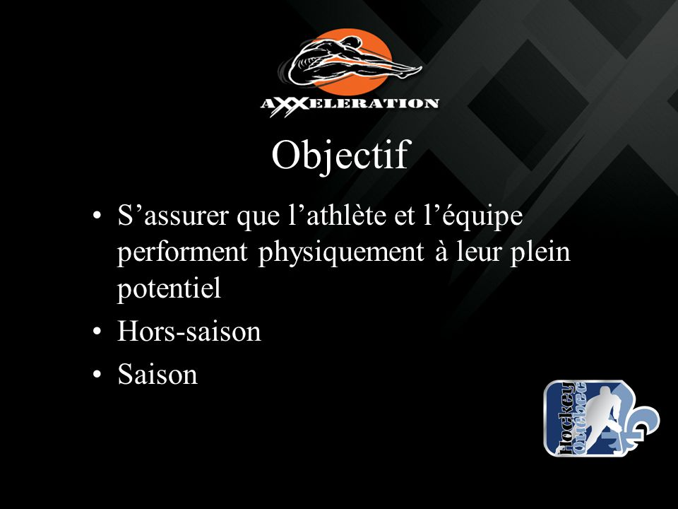 Objectif S'assurer que l'athlète et l'équipe performent physiquement à leur plein potentiel Hors-saison Saison
