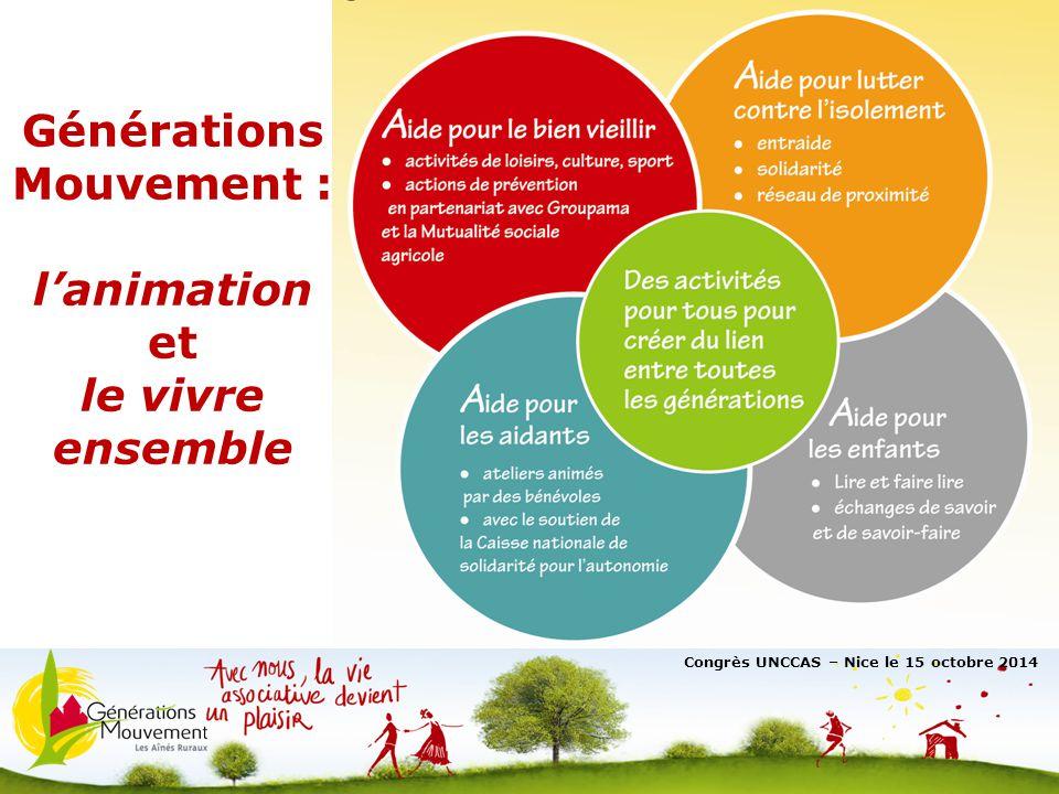 3 Générations Mouvement : l'animation et le vivre ensemble Congrès UNCCAS – Nice le 15 octobre 2014