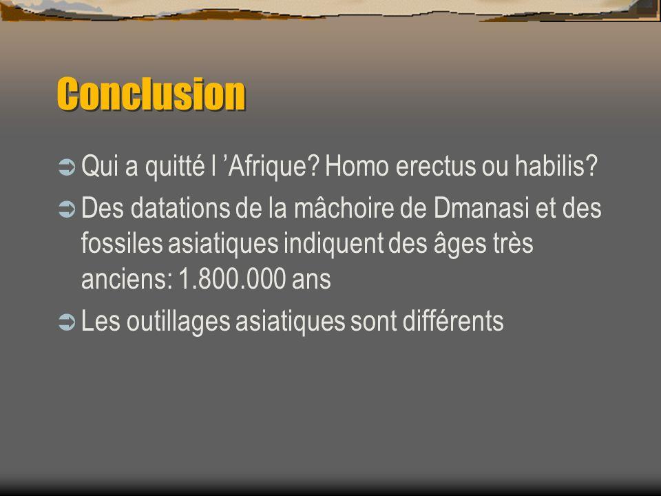 Conclusion  Qui a quitté l 'Afrique? Homo erectus ou habilis?  Des datations de la mâchoire de Dmanasi et des fossiles asiatiques indiquent des âges
