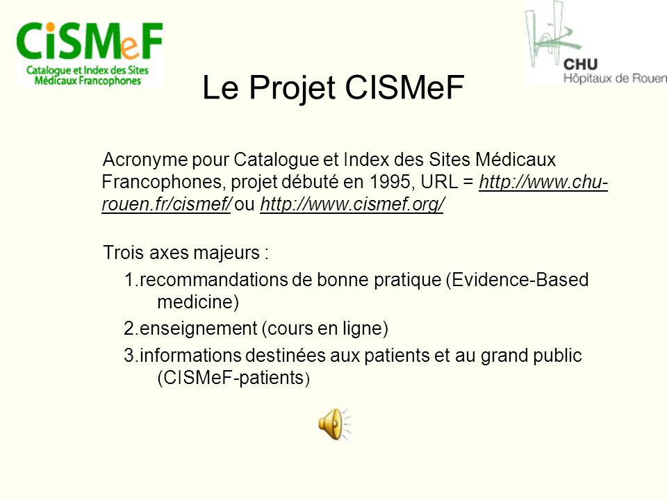 Le Projet CISMeF Acronyme pour Catalogue et Index des Sites Médicaux Francophones, projet débuté en 1995, URL = http://www.chu- rouen.fr/cismef/ ou http://www.cismef.org/http://www.chu- rouen.fr/cismef/http://www.cismef.org/ Trois axes majeurs : 1.recommandations de bonne pratique (Evidence-Based medicine) 2.enseignement (cours en ligne) 3.informations destinées aux patients et au grand public (CISMeF-patients )