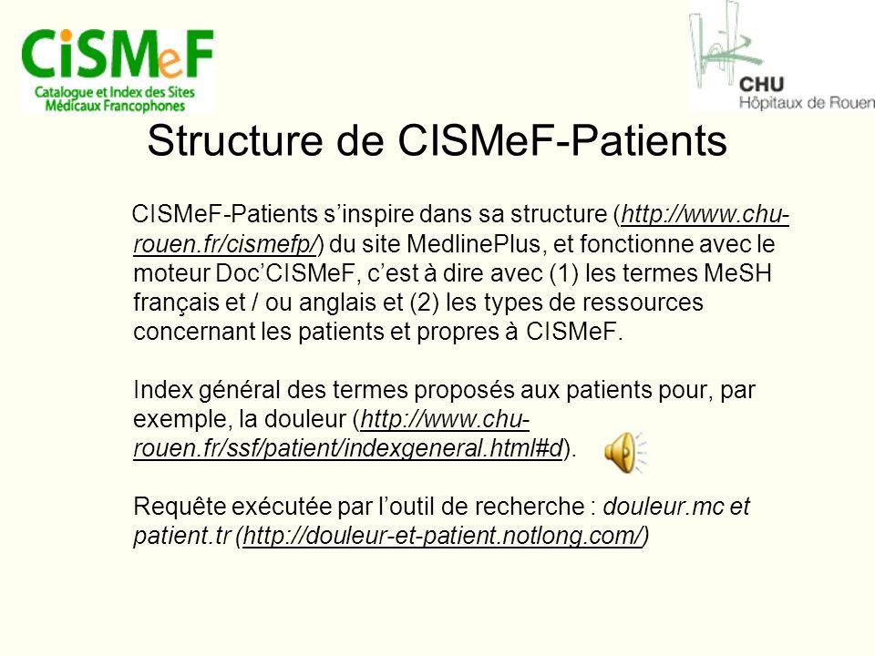Structure de CISMeF-Patients CISMeF-Patients s'inspire dans sa structure (http://www.chu- rouen.fr/cismefp/) du site MedlinePlus, et fonctionne avec le moteur Doc'CISMeF, c'est à dire avec (1) les termes MeSH français et / ou anglais et (2) les types de ressources concernant les patients et propres à CISMeF.
