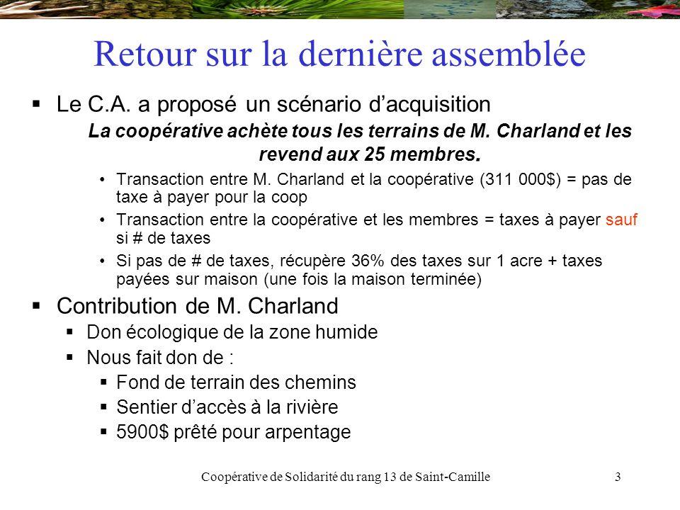 Coopérative de Solidarité du rang 13 de Saint-Camille34 Décisions des membres Résolution 1 : Il est proposé que  La coopérative de solidarité du rang 13 de Saint-Camille procède à l'achat des terres de M.