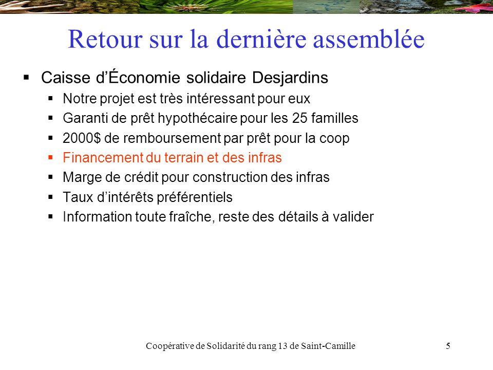 Coopérative de Solidarité du rang 13 de Saint-Camille6 Retour sur la dernière assemblée  Le C.A.