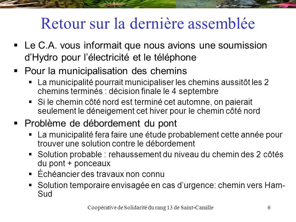 Coopérative de Solidarité du rang 13 de Saint-Camille7 Retour sur la dernière assemblée  Le C.A.