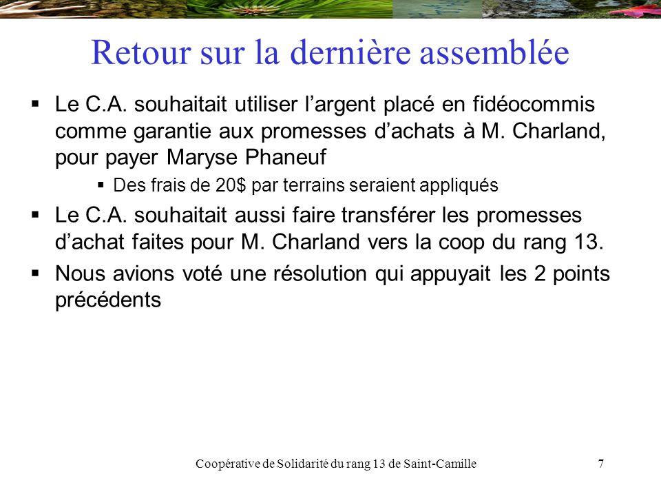 Coopérative de Solidarité du rang 13 de Saint-Camille28 Scénario d'acquisition  23/25 terrains avec promesse d'achat  reste le 26 et le 18  Taxes de mutation  Environ 3100$ coop vs M.