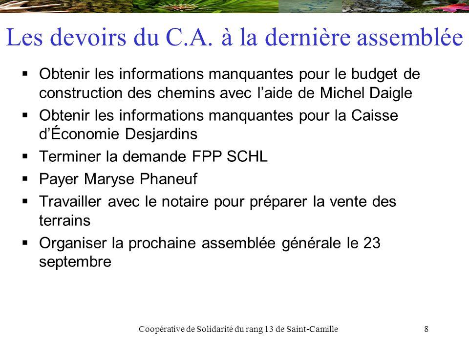 Coopérative de Solidarité du rang 13 de Saint-Camille19 Caisses d'Économie Solidaire Desjardins  Description de la Caisse  Caisse avec mission de soutenir une économie solidaire.