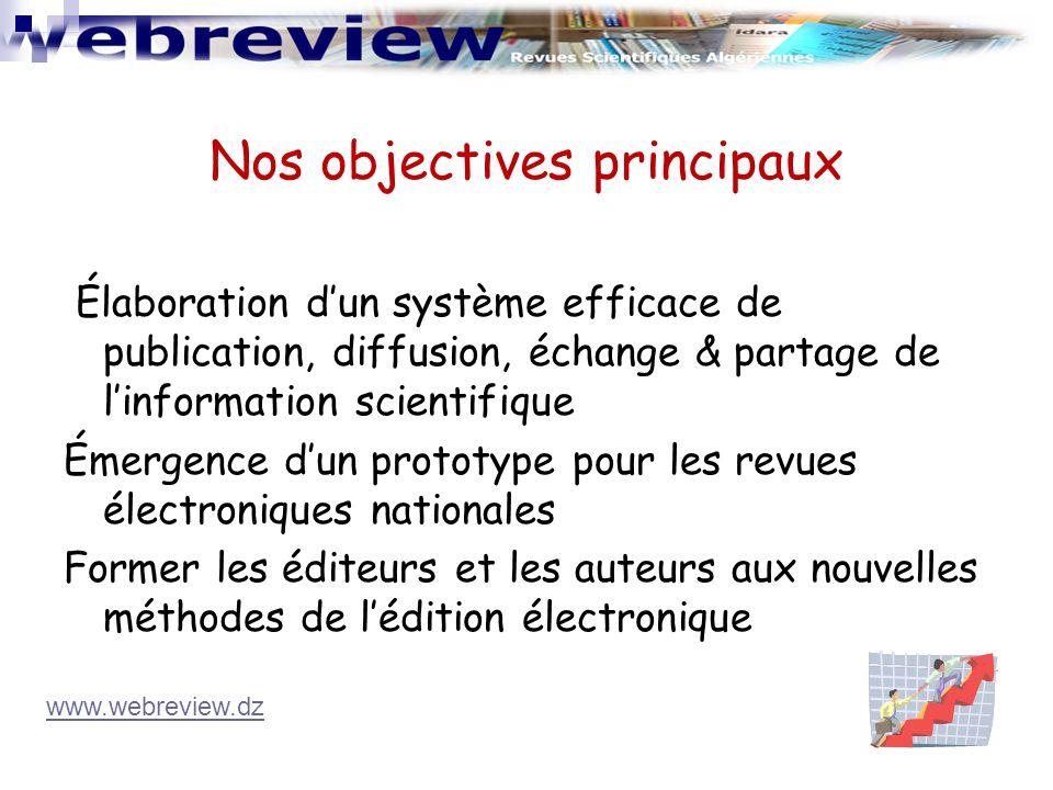 Élaboration d'un système efficace de publication, diffusion, échange & partage de l'information scientifique Émergence d'un prototype pour les revues