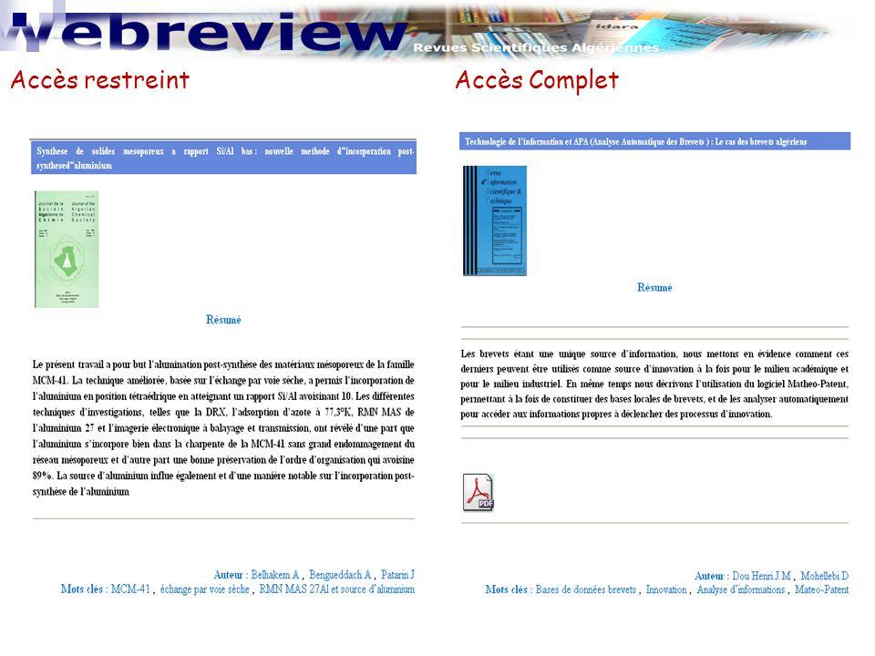 Recherche  Recherche par auteur, mots clés  Recherche par Revue  Recherche par Article www.webreview.dz