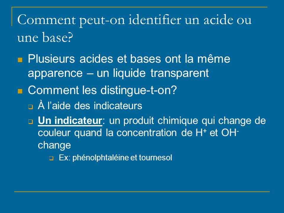 Les indicateurs Phénolphtaléine:  En présence d'acide: sans couleur  En présence de base: rose Tournesol (vient des lichens)  Tournesol bleu devient rouge en présence d'acide  Tournesol rouge devient bleu en présence de base