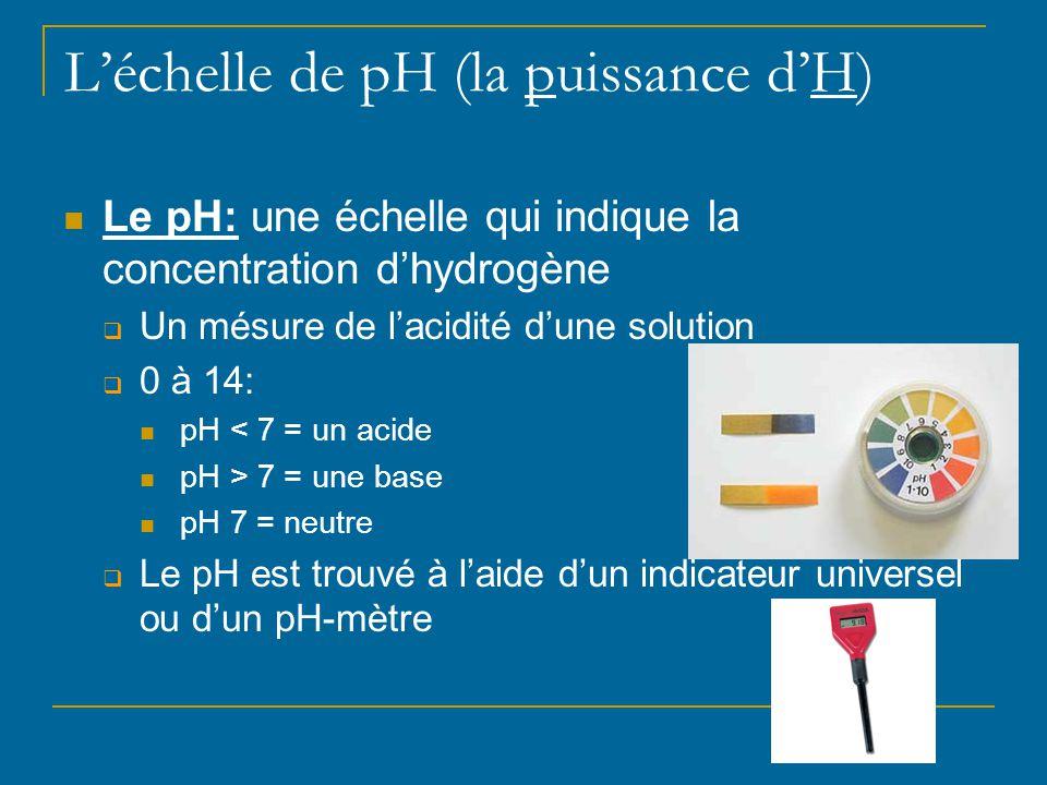L'échelle de pH (la puissance d'H) Le pH: une échelle qui indique la concentration d'hydrogène  Un mésure de l'acidité d'une solution  0 à 14: pH <