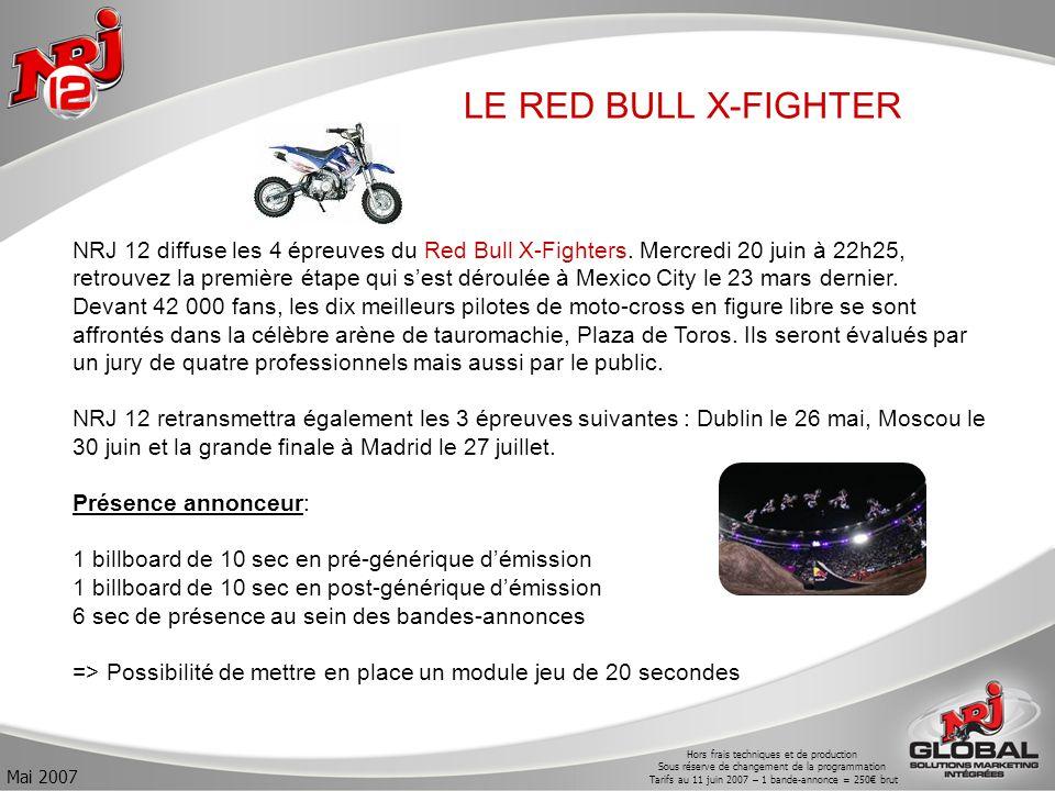 Hors frais techniques et de production Sous réserve de changement de la programmation Tarifs au 11 juin 2007 – 1 bande-annonce = 250€ brut Mai 2007 LE RED BULL X-FIGHTER NRJ 12 diffuse les 4 épreuves du Red Bull X-Fighters.