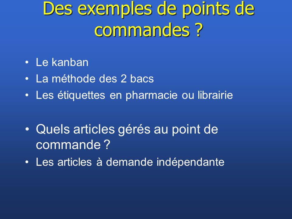 Des exemples de points de commandes ? Le kanban La méthode des 2 bacs Les étiquettes en pharmacie ou librairie Quels articles gérés au point de comman